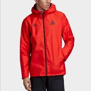 Adidas tan windbreaker red jacket